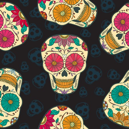 Vector Mexican  Skull Seamless pattern. Иллюстрация