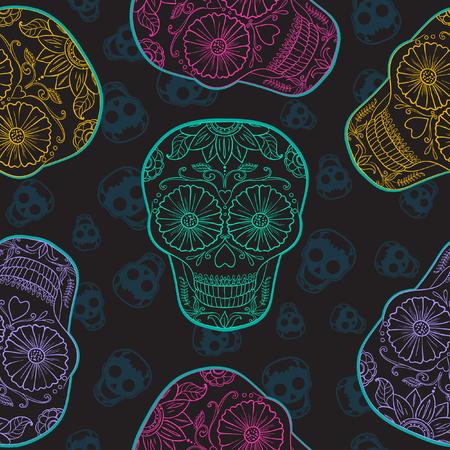 catrina: Vector Mexican  Skull Seamless pattern. Illustration