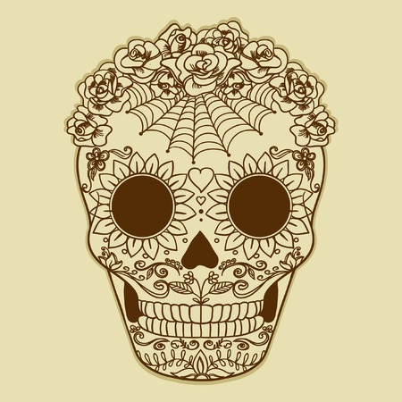Vector Sugar Skull can be used for T-short, bag Vector