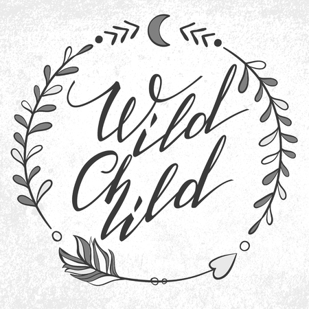 wild animal: Handwritten Lettering. Inspirational Quote Wild Child. Vector illustration