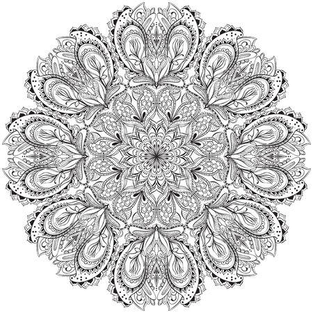 hindi: Vector Mandala. Round Hindi Ornament