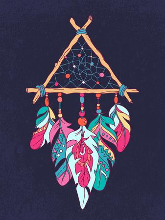 Vector Dreamcatcher Amulet. Ethnic illustration Çizim