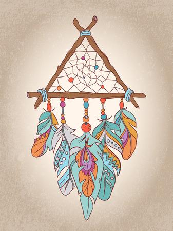 atrapasueños: Vector Dreamcatcher amuleto. ilustración étnica