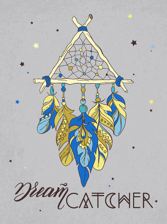 Vector Dreamcatcher Amulet. Ethnic illustration  イラスト・ベクター素材