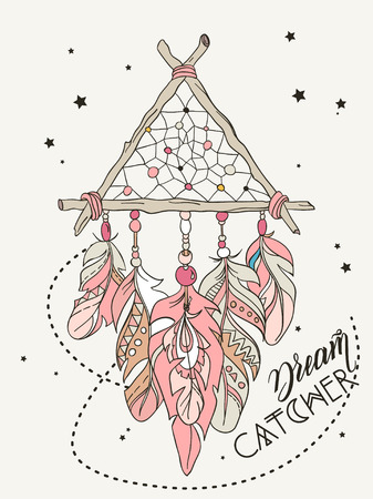 dreamcatcher: Vector Dreamcatcher Amulet. Ethnic illustration Illustration