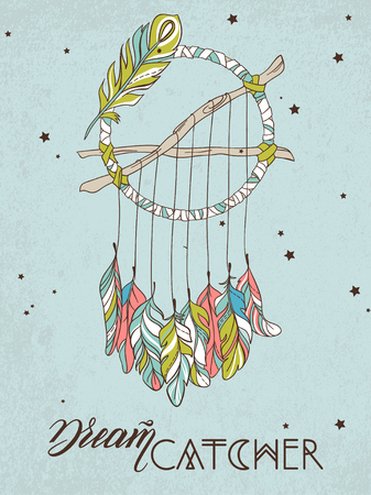 dreamcatcher: Vector Dreamcatcher Amulet. Ethnic illustration Illustration