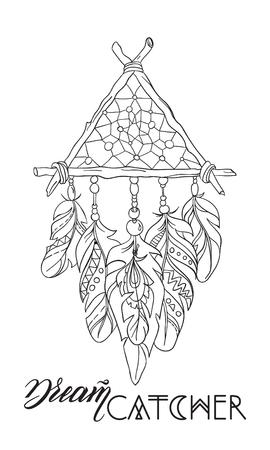 dream catcher: Vector Dreamcatcher Amulet. Ethnic illustration Illustration