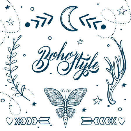 gypsy: Vector Set of Boho Style Elements. Lettering Calligraphy text. Tattoo template. Trendy hand drawn tribal Gypsy symbol collection.