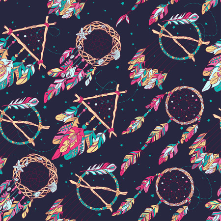 Vector Seamless Pattern with Different Dream Catcher Amulet. Can be used as ornament of textile, dress pattern, case and cover for gadget