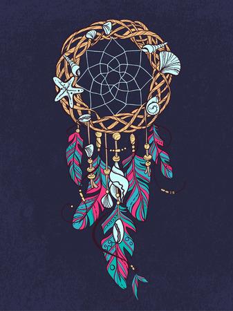Vector Dreamcatcher Amulet of Style mare. Native American Indian talismano con piume e conchiglie Vettoriali