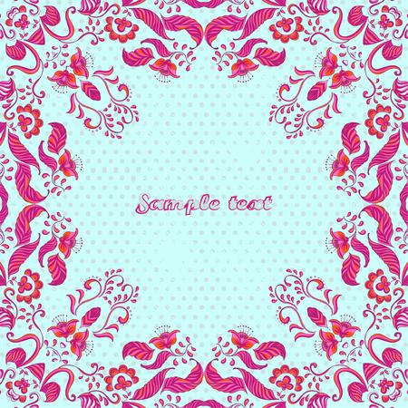 Vector card with floral ornament. Vector illustration. Stok Fotoğraf