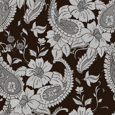 Vector flower paisley seamless pattern element. Çizim