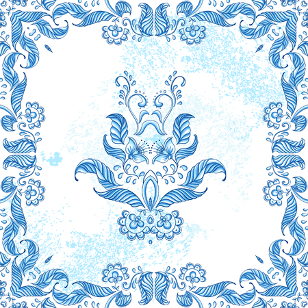 Vector card with floral ornament. Vector illustration. Çizim