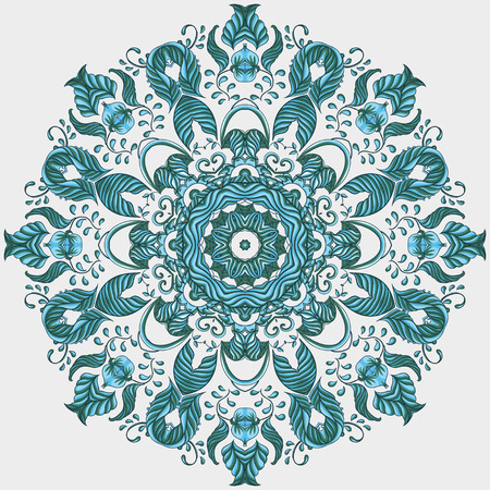 mongoloid: Vector Ornamental round lace pattern, circle background Illustration