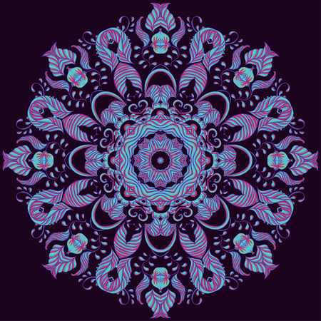 Vector Ornamental round lace pattern, circle background Çizim