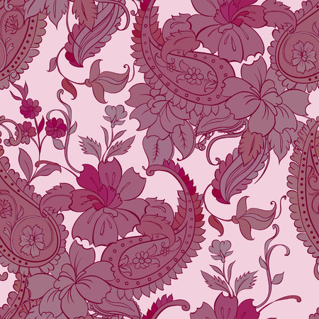Vector flower paisley seamless pattern element. Stok Fotoğraf