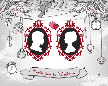 Vector Wedding Invitation Card. Vintage card with Silhouette Married Çizim
