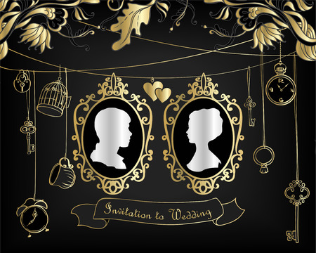 Vector Wedding Invitation Card. Vintage card with Silhouette Married Stok Fotoğraf