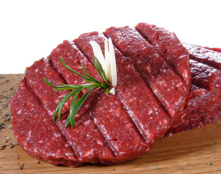 row meat burger Stock Photo