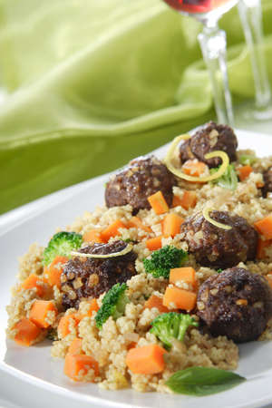 Cuscus with meatballs photo