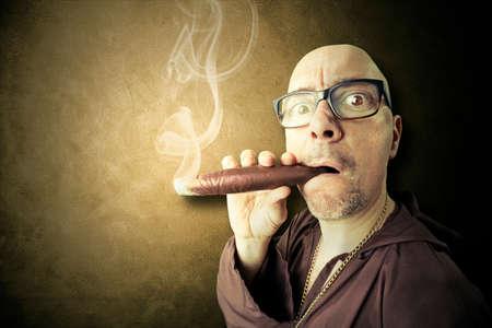 suspicious: hidden priest smoking big sigar