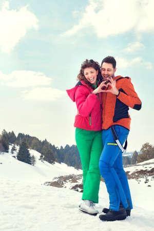 山の中の愛のカップル