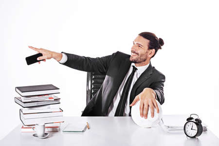 distraction: Procurator working in a football business Stock Photo