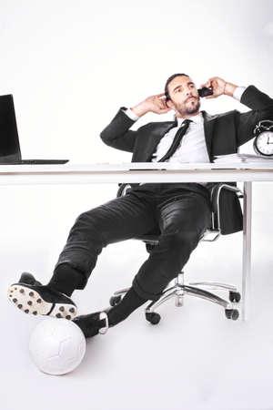 サッカー ビジネスで働く代理ビジネス男 写真素材 - 29384282