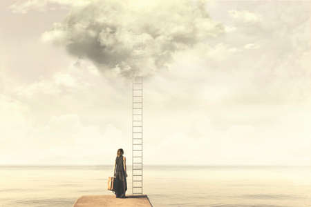unexplored: Surreal moment of a woman standing in front of a ladder go above a cloud