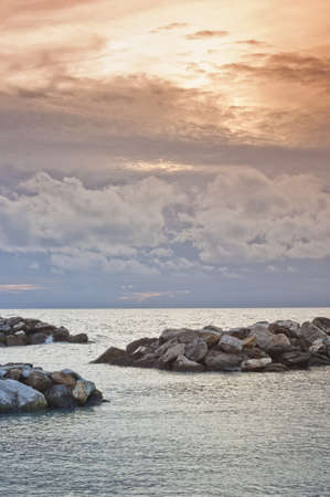mediterraneo: Sunset on the Mediterraneo sea - Marina di Pisa Italy Stock Photo