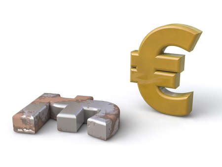 deprecated: The euro appears on the lyre, now deprecated Stock Photo