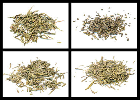 details of various tea  bancha, gunpowder, lung ching, sencha photo