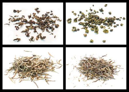 details of various tea  formosa semi-fermented, dong ding, yunnan silver, pine needles photo