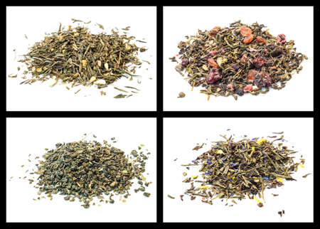 details of various tea  Bedouin tea, sweet sunset, sencha berries, sencha lemon and ginger photo