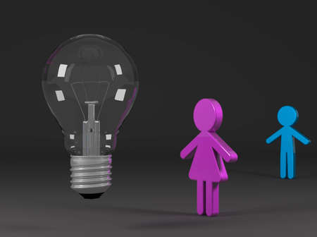 Girl enterprising solve problems with an idea photo