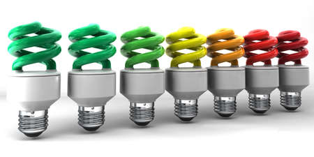kwh: series of light bulbs - energy class Stock Photo