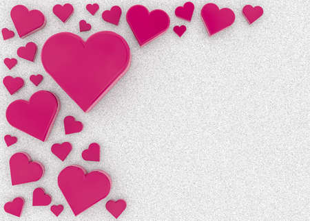 pink hearts on a bed of sugar