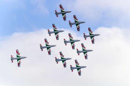 tricolor arrows in aerobatics, may 18 2014 in Loano - Savona Italy
