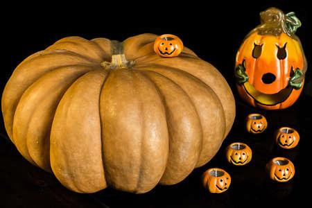 autumn halloween pumpkins on wooden table