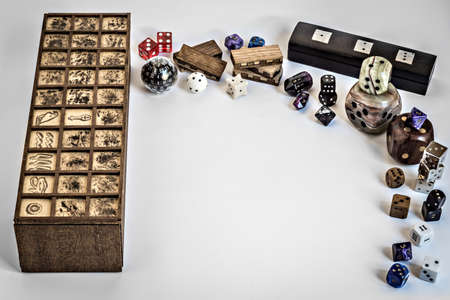frame with dices and boardgame