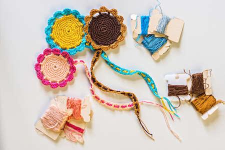 Three bookmarks handmade with crochet Stock Photo