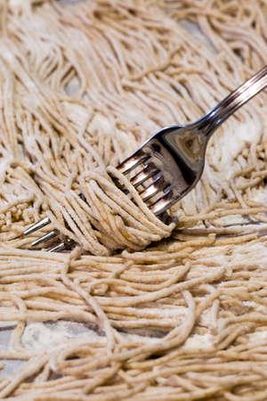 Homemade spaghetti with whole wheat flour
