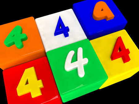 4 different numbers in perspective on black