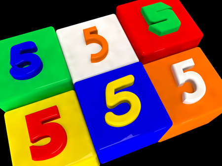 5 different numbers in perspective on black Stock Photo