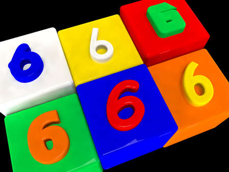 6 different numbers in perspective on black Stock Photo