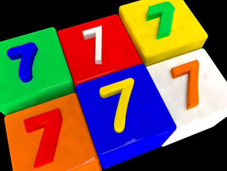 7 different numbers in perspective on black