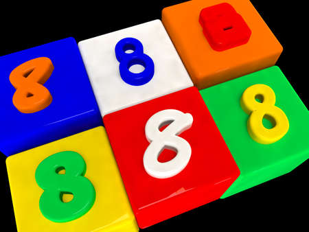 8 different numbers in perspective on black