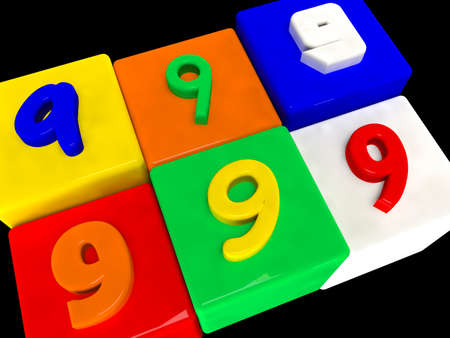9 different numbers in perspective on black Stock Photo
