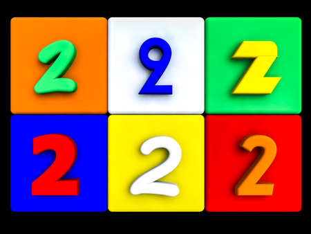 various numbers 2 on colored cubes, on black