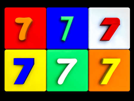 various numbers 7 on colored cubes, on black